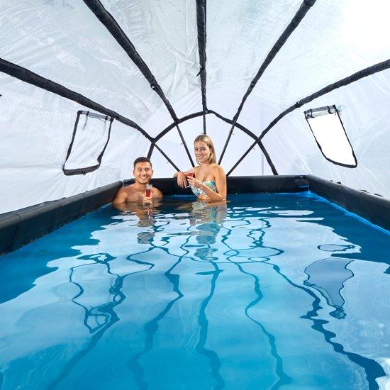 EXIT zwembad Stone 540x250cm met overkapping en filterpomp - grijs