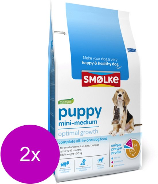 Smolke Puppy Mini-Medium - Hondenvoer - 2 x 3 kg