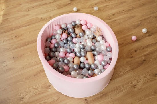 FUJL - Ballenbak - Speelbak - Roze - ⌀ 90 cm - 200 ballen - Roze- Parel - Wit - Transparant