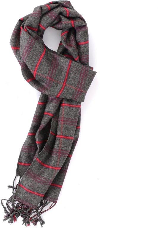 Luxe grijs met rode viscose sjaal met ruit patroon - Zachte nette shawl voor heren