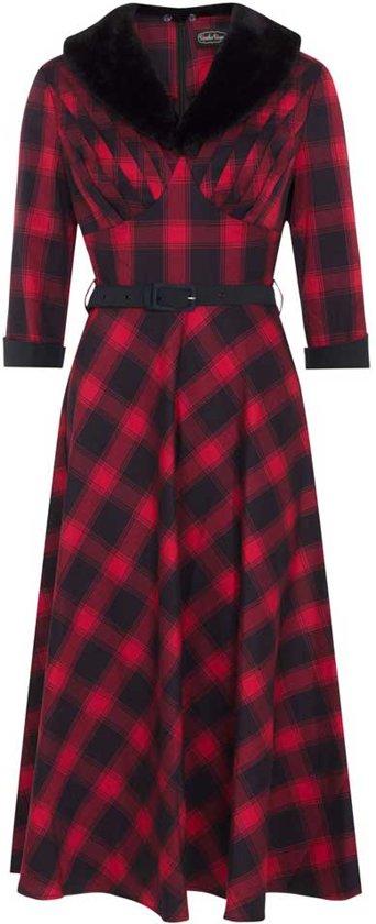 0c2793a6b41fd9 ... S - Voodoo Vixen. Bettie plaid swing jurk met kraag van nep bont rood -  Rockabilly Vintage Retro - XL