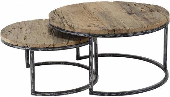Duverger Recycled - Salontafels - set van 2 - rond - gerecycleerd hardhout - halfronde smeedijzeren poten