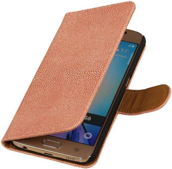 MiniPrijzen -  booktype - bookstyle - Wallet Case - Flip Cover - Book Case Bescherm Hoes Roze Glanzend Ribbelige Samsung Galaxy S6 Telefoonhoesje - Smartphone hoesje in Dijkhuizen