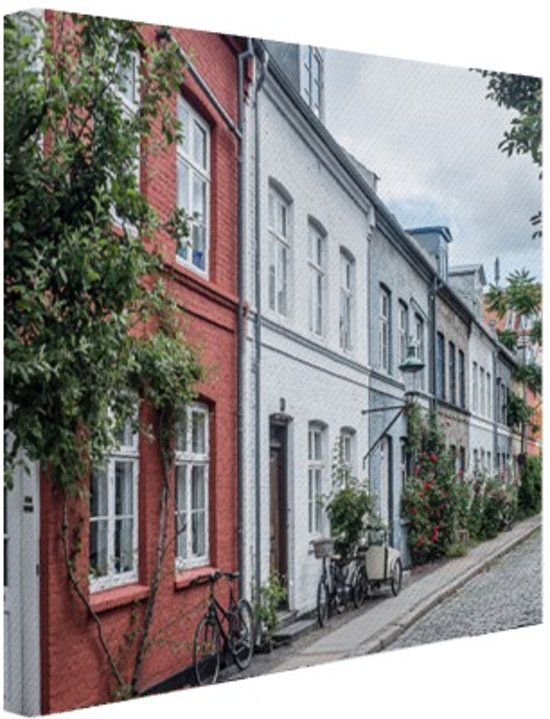 Straat Kopenhagen Canvas 80x60 cm - Foto print op Canvas schilderij (Wanddecoratie)