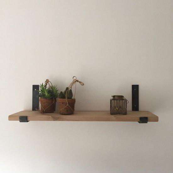 Industriële Plankdragers-Open Staal | Zwart structuur| Eikenhout | 100cm| planken dragers