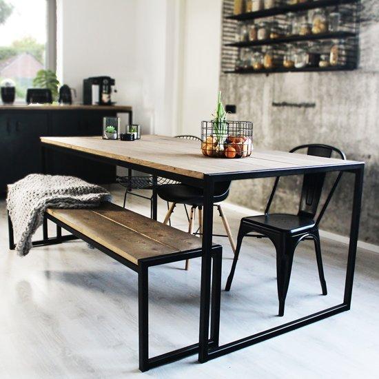 """Industriële eettafel, tafel hout en metaal - zwart """"Houston"""" 180 x 100 cm"""