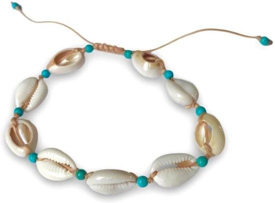 Enkelbandje met schelpjes Turquoise