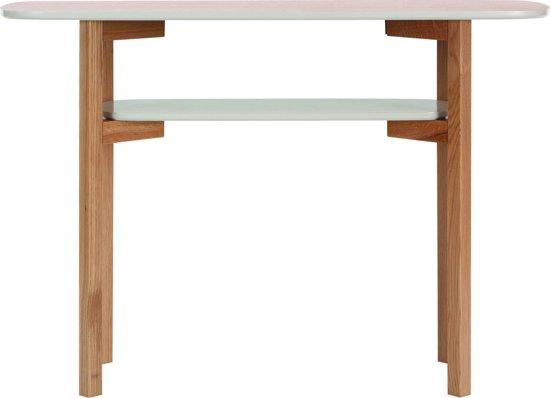 Side Table Grijs.Cecile Side Table Met 1 Plank In Grijs En Eikenfineer Massief Eiken