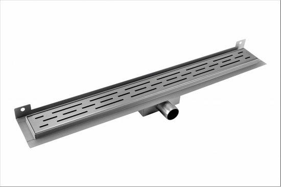 CityLine TopDesign RVS zijuitloop douchegoot 120 cm muurflens - Rooster: Dots