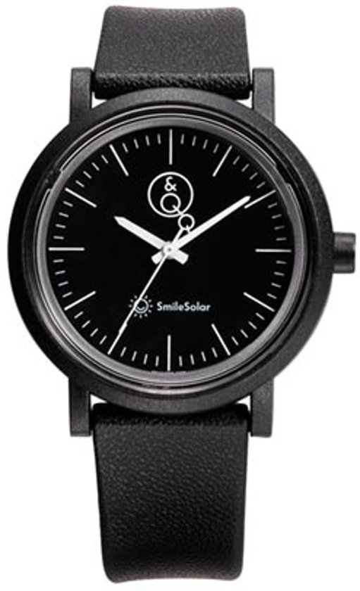 Q&Q Smile Solar 651024 horloge 100 meter 40 mm zwart