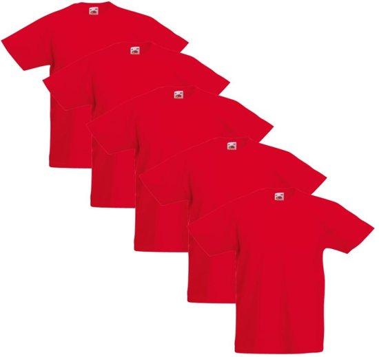 bb22c39818fa7a bol.com | 5x Fruit of the Loom Original Kids T-shirts Rood maat 164