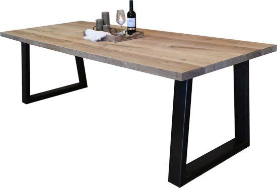 Eettafel 240 Cm.Bol Com Eiken Tafel Industrieel 100 X 240 Cm Zwart