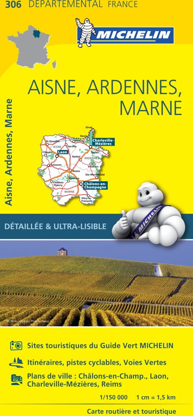 Aisne / ardennes / marne 11306 carte ' local ' ( France ) michelin kaart