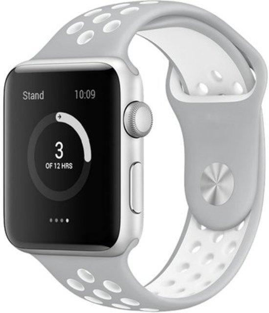 Siliconen Bandje - Grijs/Wit - Voor Apple Watch - 38/40 mm