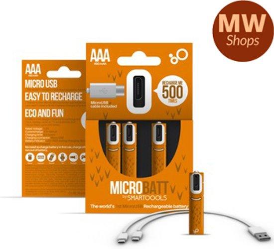 MW Shops® Orginele Micro Usb Oplaadbare aaa Batterijen -  Batterij Oplader - Lader Batterijen - 4 Stuks Met Oplader