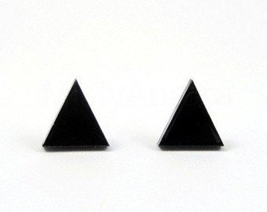 Dichte driehoek minimalistische oorknopjes mat zwart in luxe geschenkdoos