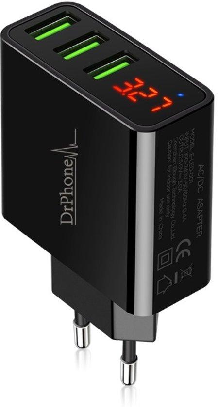 DrPhone - Thuislader 3 poorten USB-oplader 2.4A Smart Fast Charge Lader met LED-display real-time status van stroom en spanning & ingebouwde smart chip voor veilig opladen - Geschikt voor Apple iPhone / Samsung Galaxy /LG / HUAWEI / Sony Xperia etc