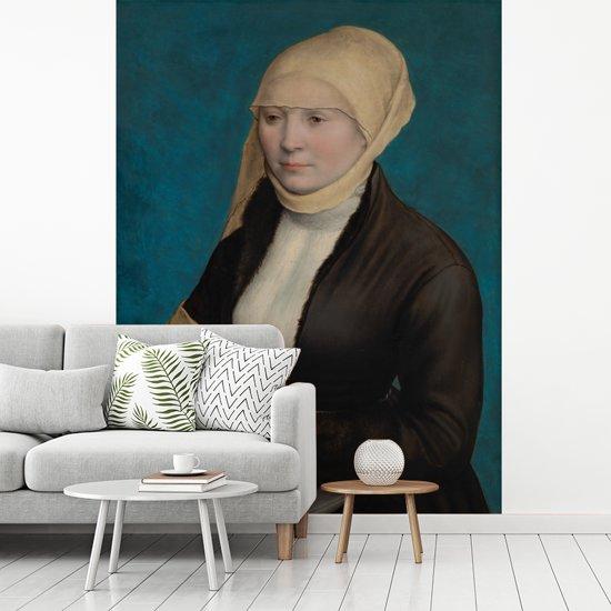 Fotobehang vinyl - Portret van een Zuid-Duitse vrouw  - Schilderij van Hans Holbein de Jonge breedte 195 cm x hoogte 260 cm - Foto print op behang (in 7 formaten beschikbaar)