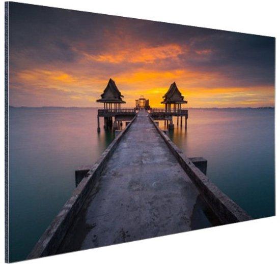 Sunset in Thailand foto afdruk Aluminium 120x80 cm - Foto print op  Aluminium (metaal wanddecoratie)