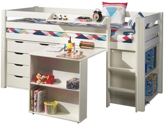 halfhoogslaper charlotte wit met bureau boekenkast en ladekast