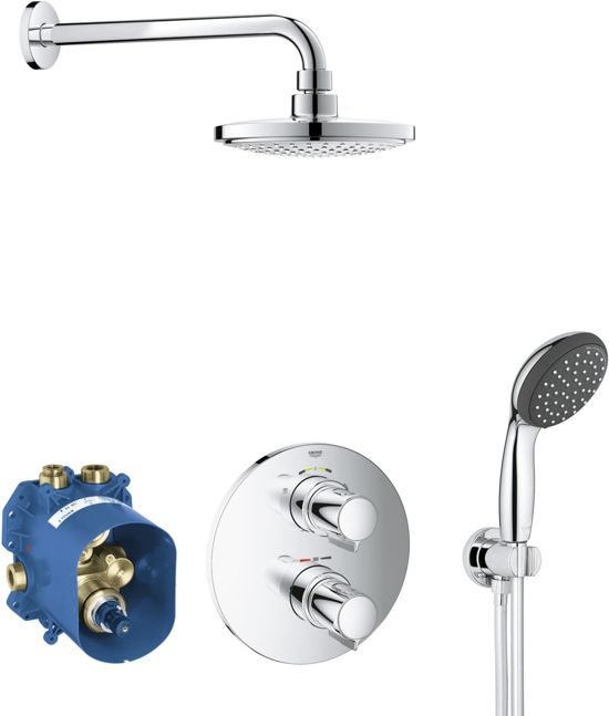 grohe precision trend perfect shower set inclusief thermostatische inbouwkraan. Black Bedroom Furniture Sets. Home Design Ideas