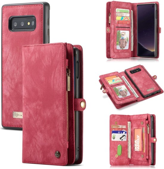 Caseme vintage 2 in 1 portemonnee hoes Samsung Galaxy S10e Rood