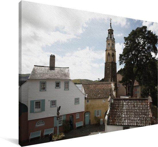 Het Welshe Portmeirion met een Italiaans tintje in het Verenigd Koninkrijk Canvas 180x120 cm - Foto print op Canvas schilderij (Wanddecoratie woonkamer / slaapkamer) XXL / Groot formaat!