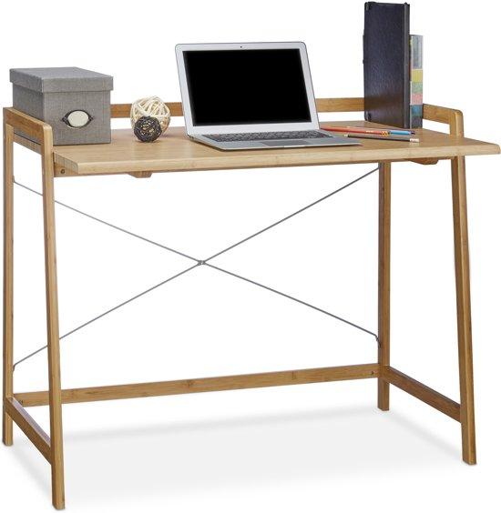 Computer Bijzet Tafeltje.Relaxdays Computertafel Bamboe Computer Bureau Pc Tafel Schrijftafel