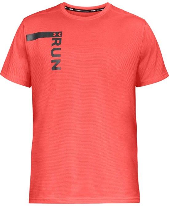 Under Armour Run Tall Graphic SS Sportshirt Heren - After Burn - Maat XL