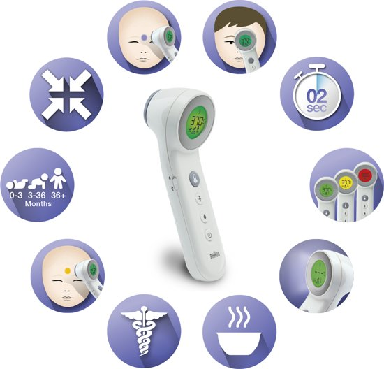 Braun BNT400 digitale lichaams thermometer Contactloos Voorhoofd - Braun