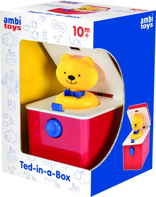 Ambi Toys Ted-in-a-box 9,5 Cm Rood