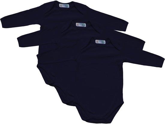 Link Kidswear - Unisex lange mouw romper van biologisch katoen - maat 62/68 - navy - 3 stuks