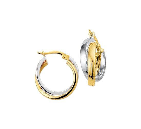 The Jewelry Collection Oorringen Half-ronde Buis - Bicolor Goud