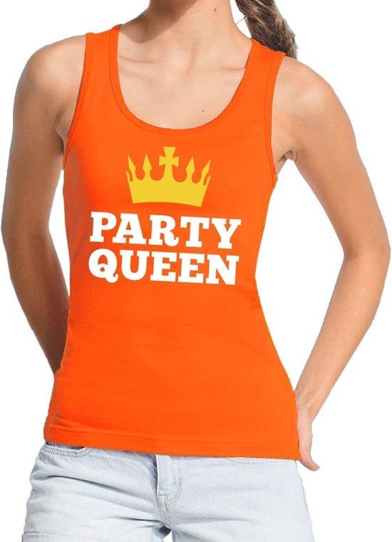 Oranje Party Queen tanktop / mouwloos shirt  voor dames - Koningsdag kleding S