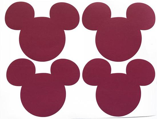 Donker roze Mickey Mouse - kinderkamer stikker Mickeymouse - wandversiering disney - mickey voor de kids - 12 stuks van 6,5 x 8cm