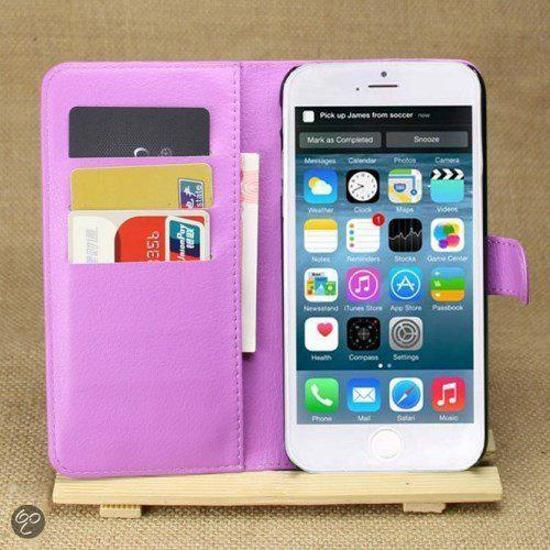 MW Wallet Book Case Lychee Paars voor Apple iPhone 6 Plus