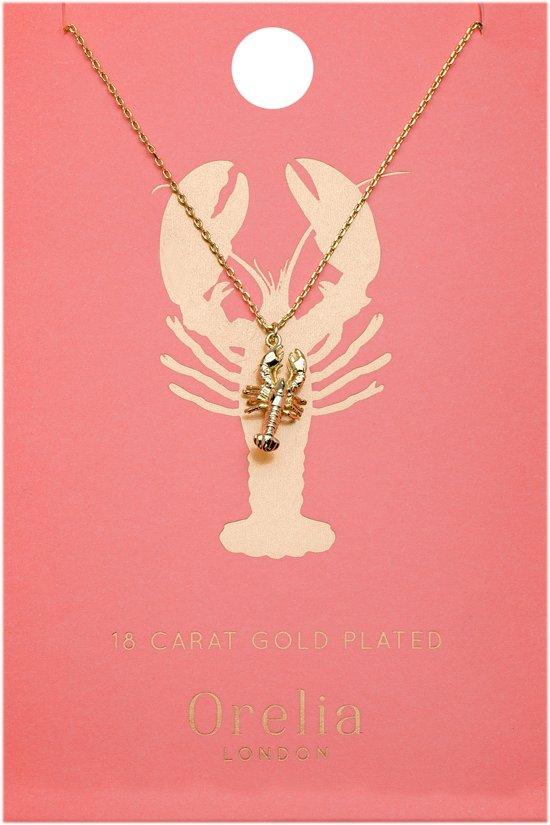 Orelia kettinkje kort met kreeft bedel - plated - 40,5 cm + 5 cm verlengstuk + 1,5 cm bedel