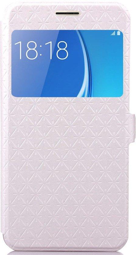 Shop4 - Samsung Galaxy J7 (2016) Hoesje - Window View Case Diamond Series Wit in Terheijl
