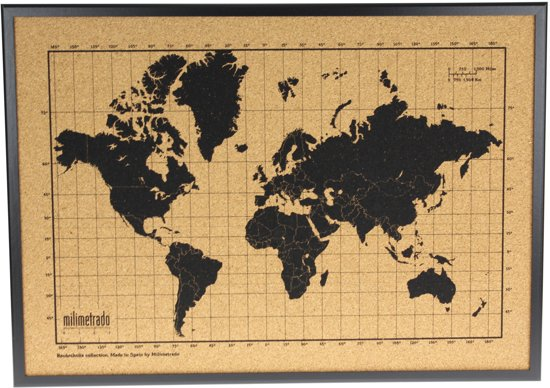 Milimetrado Wereldkaart Prikbord Kurk met Houten Frame - Zwart