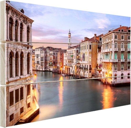 Groot kanaal Venetie Hout 120x80 cm - Foto print op Hout (Wanddecoratie)