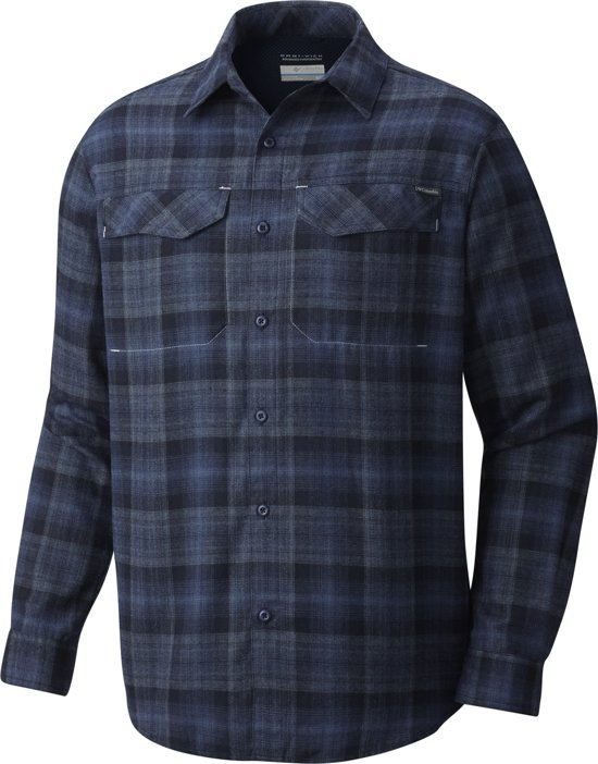Columbia Silver Shirt Flannel M Blouse Blauw Lange Heren Mouwen Ridge x1vxr4O