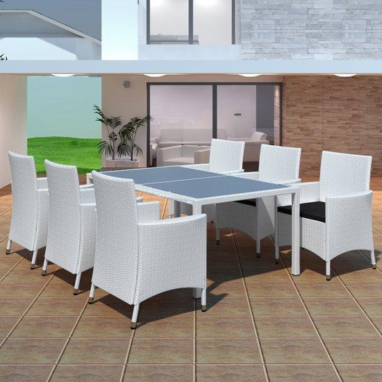 Ongebruikt bol.com | Poly rattan eethoek buiten 6 stoelen + 1 tafel (wit) CP-01