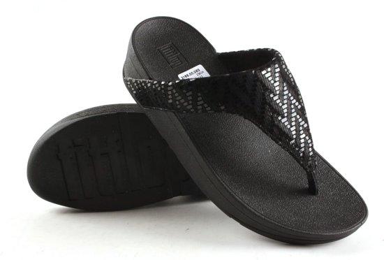 Dames Slippers Fitflop Fitflop Lottie Chevron Suede Black Beige