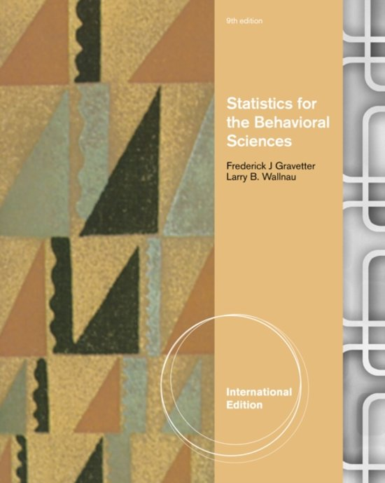 Boek cover Statistics for the Behavioral Sciences, International Edition van Frederick J. Gravetter (Paperback)