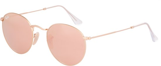Ray-Ban RB3447 112/Z2 - zonnebril - Round Metal - Matte Gold/Brown Mirror Pink - 50mm