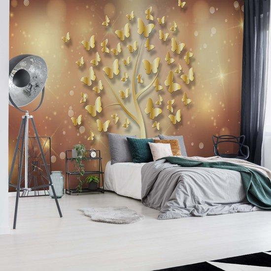 Fotobehang Modern Butterfly Tree Gold   VEXXL - 312cm x 219cm   130gr/m2 Vlies