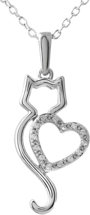 Treasure Trove® Hart Kat Ketting met Hanger - Kinderketting - Meisje - Zilverkleurig