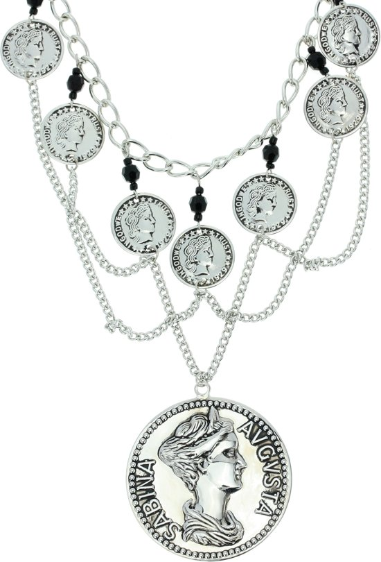 Ketting zilver-kleur met munten