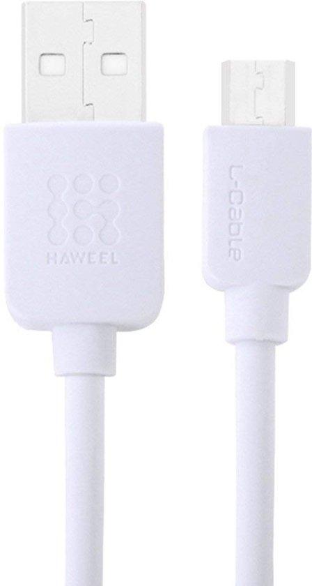 Haweel Gecertificeerde kabel 1 Meter Micro USB High Speed Laadsnoer Wit