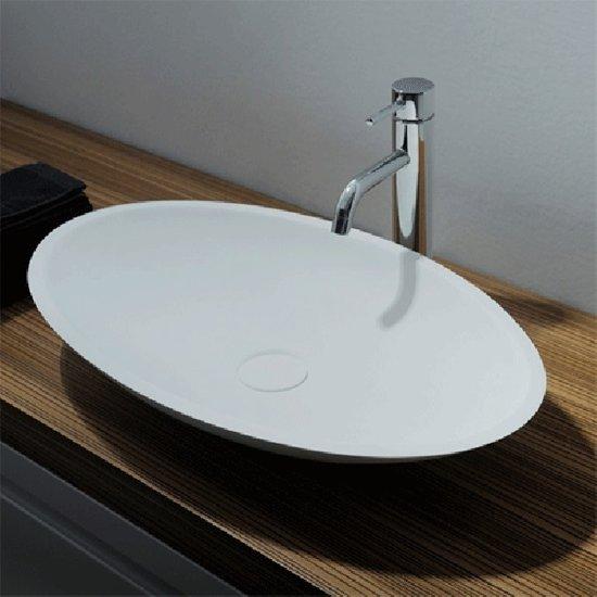 Wastafel Opbouw Ideavit Solidjazz Ovaal 60x35x9cm Solid Surface Mat Wit 0 Kraangaten